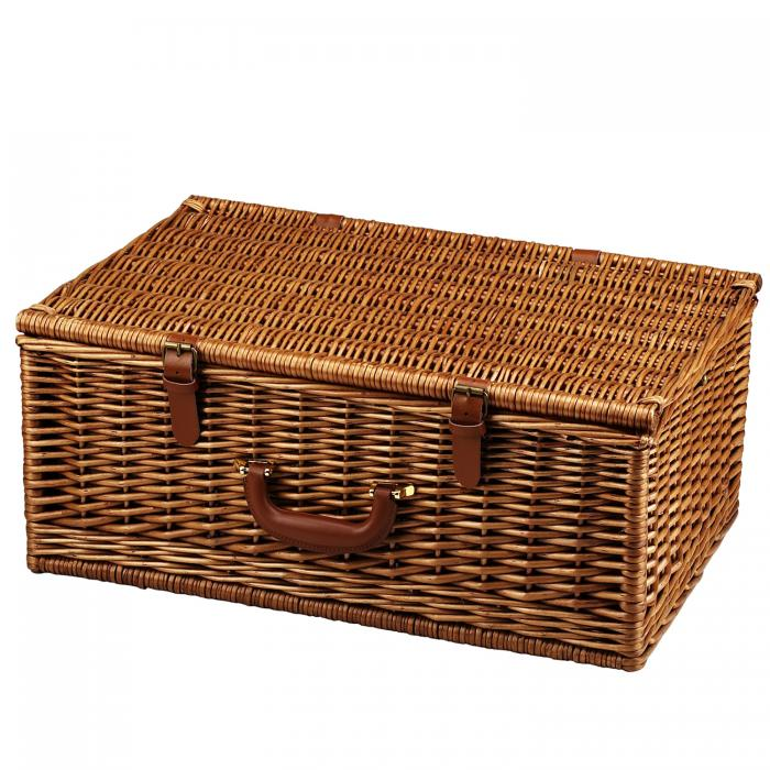 Picnic at Ascot Dorset English-Style Willow Picnic Basket with Service for 4 - London Plaid