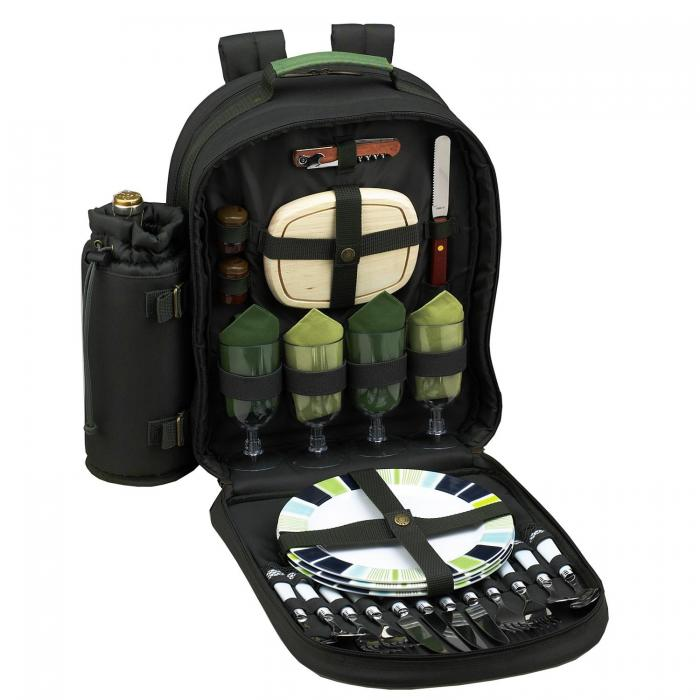 Picnic at Ascot - Deluxe Equipped 4 Person Eco Picnic Backpack with Cooler & Insulated Wine Holder - Forest Green
