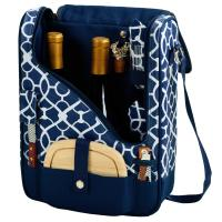Wine & Cheese Cooler Bag w/Glasses for 2  -Trellis Blue