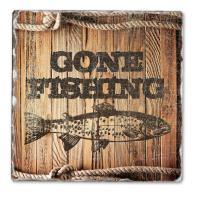 Counter Art Gone Fishing Single Tumbled Tile Coaster