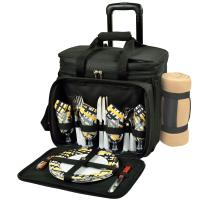 Picnic at Ascot Deluxe Wheeled Picnic Cooler Equipped for 4 w/Blanket  -Black/Paris