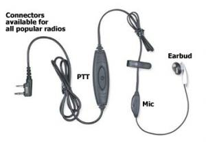 Vapor Series Earpiece with In-Line PTT & Microphone
