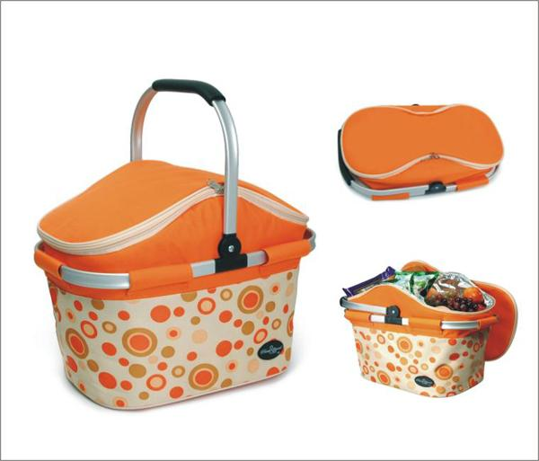 Picnic & Beyond Aluminum Framed Orange Empty Picnic Cooler Basket