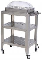 BroilKing Triple Buffet Warming Cart with Clear Rolltop Lid