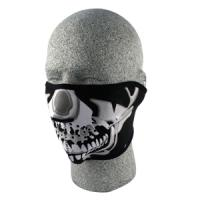Cold Weather Headwear Neoprene 1/2 Face Mask, Chrome Skull