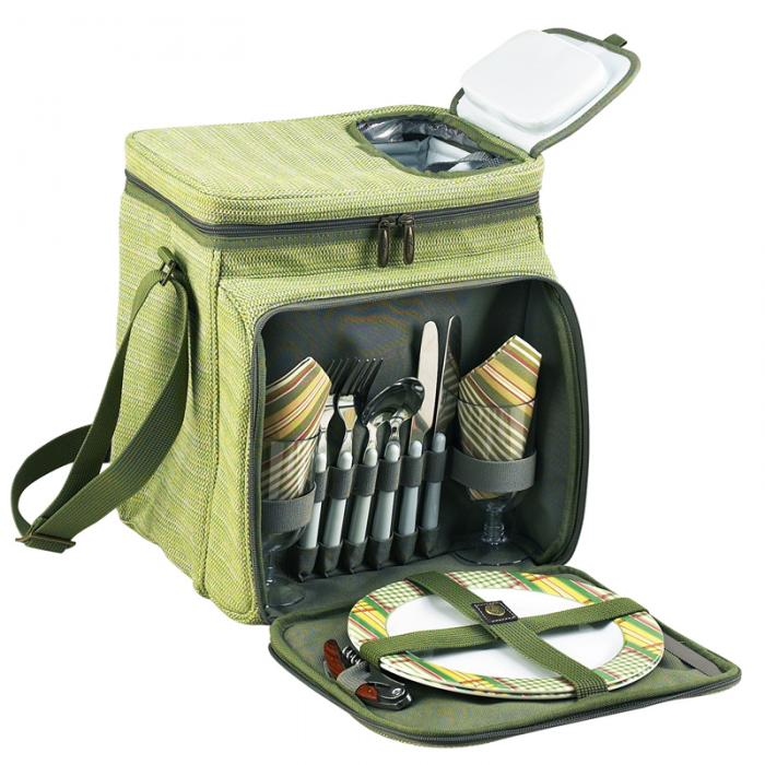 Picnic at Ascot Insulated Picnic Basket/Cooler Fully Equipped with Service for 2 - Olive Tweed