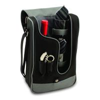 Picnic Time Barossa Botanica Single Bottle Wine Tote for Two, Black with Grey