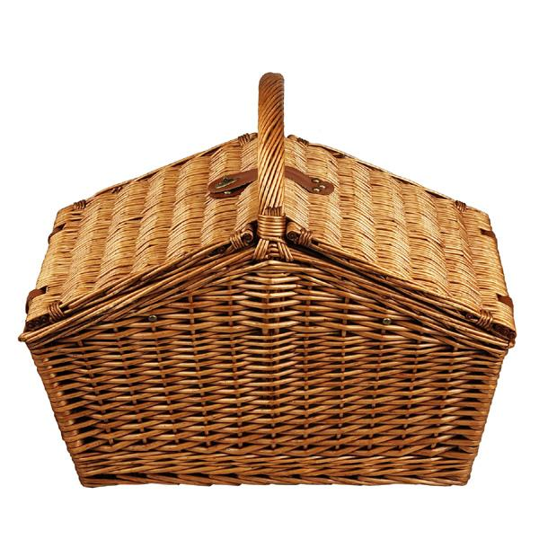 Picnic at Ascot Huntsman English-Style Willow Picnic Basket with Service for 4 and Coffee Set - London Plaid