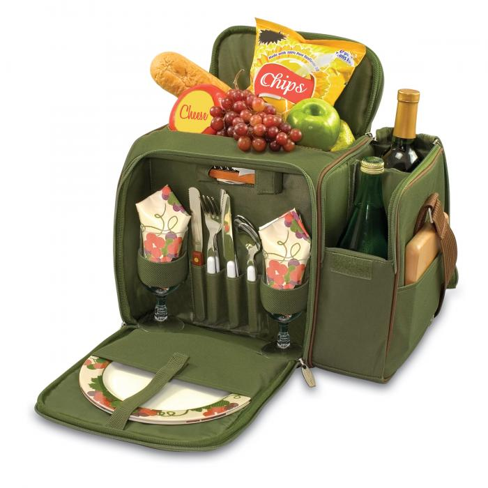 Picnic Time Malibu Shoulder Pack w/ Deluxe Picnic Service for 2, Pine Green