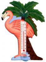 Songbird Essentials Flamingo & Palm Tree Small Window Thermometer