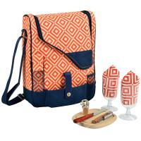 Picnic at Ascot  Wine and Cheese Cooler Bag Equipped for 2  - Orange/Navy