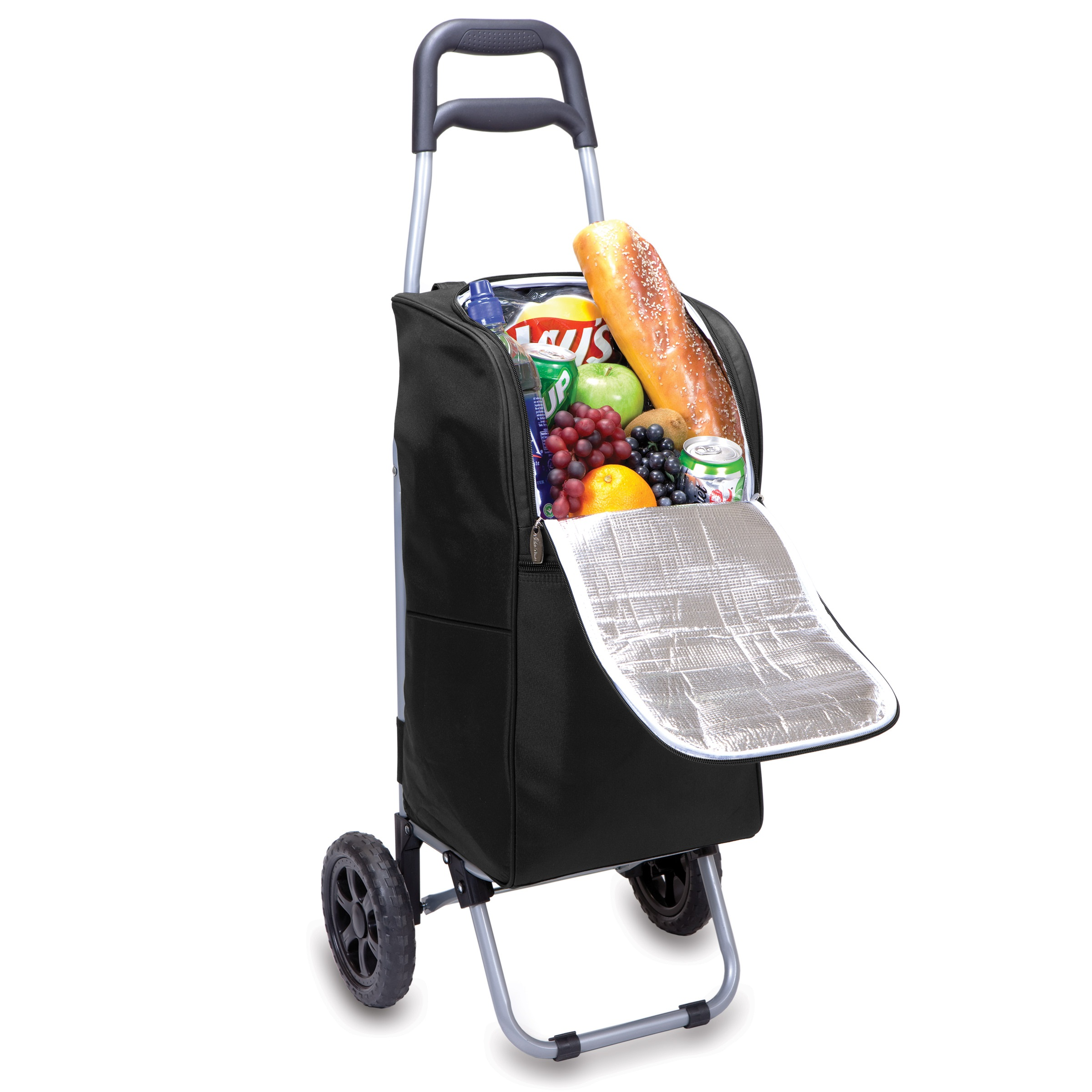 Picnic Time Cart Cooler On Wheels With Removeable Tote Black