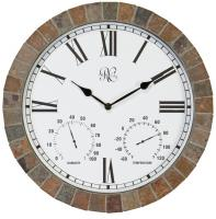 15 Inch Indoor/Outdoor Tile Clock with Time, Temperature, and Humidity