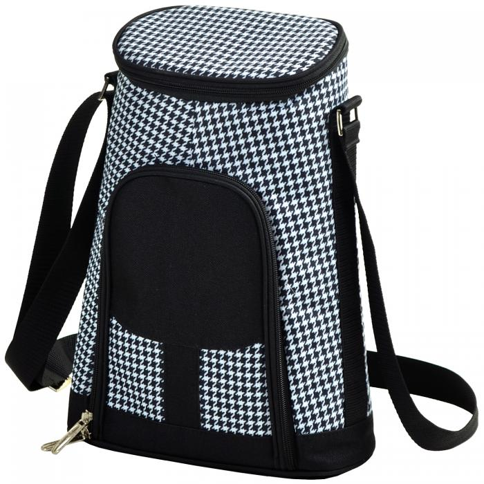 Picnic at Ascot 2 Bottle Insulated Wine Tote & Cheese Set - Houndstooth