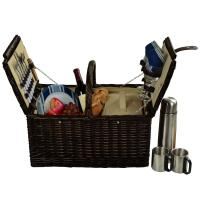 Picnic at Ascot Surrey Picnic Basket for 2 w/Coffee, Brown Wicker/Blue Stripe