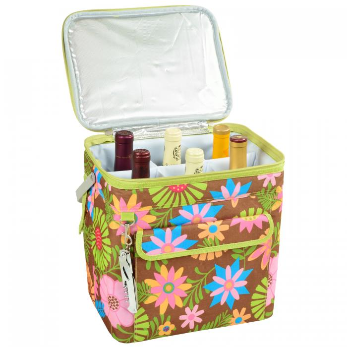 Picnic at Ascot 6 Bottle Insulated Wine Tote- Collapsible Multi Purpose Cooler - Floral