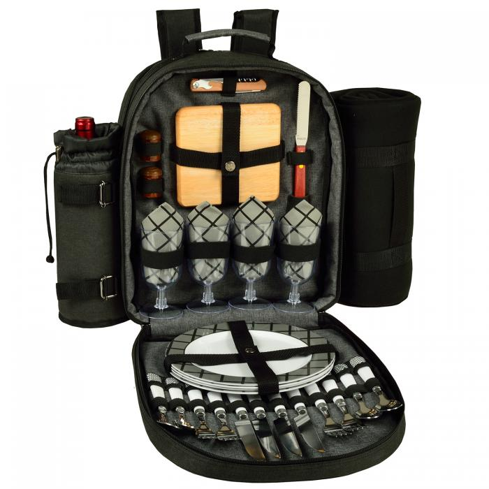 Deluxe Equipped 4 Person Picnic Backpack w/Blanket - Charcoal