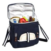 Picnic at Ascot Wine and Cheese Picnic Basket/Cooler with hardwood cutting Board, Cheese Knife and Corkscrew - Navy