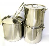 Stainless Steel Stock Pots w/ Steamer Inserts & Lids - Set of 3