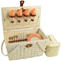 Picnic at Ascot Settler Traditional American Style Picnic Basket W/Service for 4 - Diamond Orange