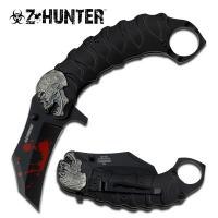 Zombie Tactical Black Assisted Opening Knife with Finger Ring
