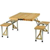 Picnic at Ascot Portable Folding Wooden Outdoor Picnic Table with 4 Seats- Natural