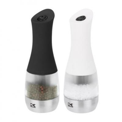 Set of 2 Kalorik Contempo Stainless Steel, Black and White Electric Salt And Pepper Grinders
