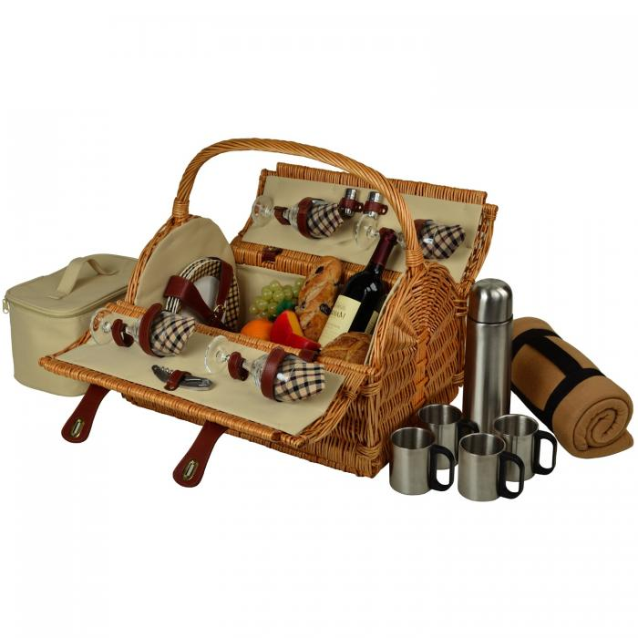 Picnic at Ascot Yorkshire Willow Picnic Basket with Service for 4,Coffee Set and Blanket - London Plaid