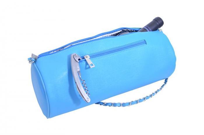 Picnic Gift - GGWP - Blue Insulated Single Bottle Wine Purse