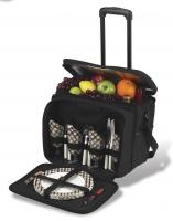 Picnic at Ascot Equipped Picnic Cooler with Service for 4 on Wheels - London Plaid