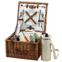 Picnic at Ascot Cheshire English-Style Willow Picnic Basket with Service for 2 and Coffee Set - Gazebo