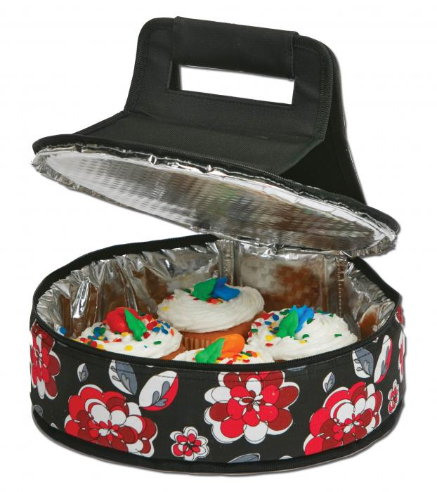 Picnic Plus Round Thermal Insulated Cake 'n Carry, Red Carnation