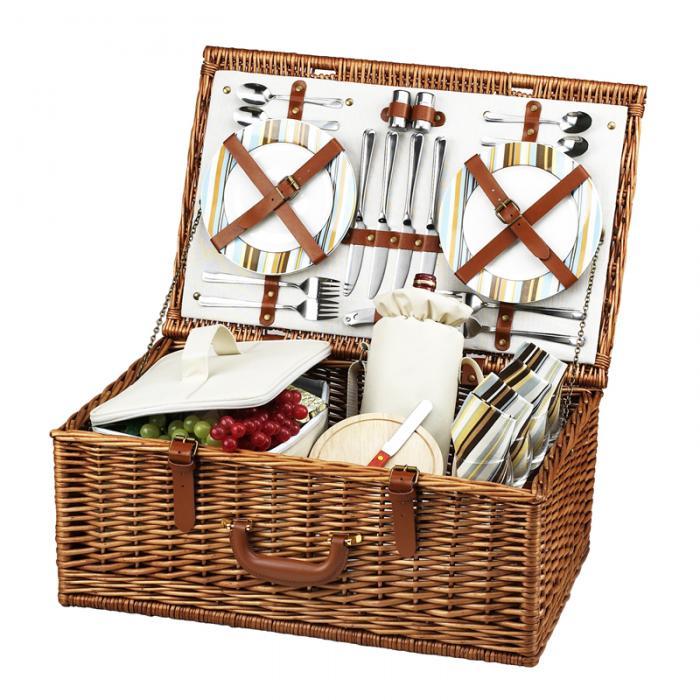 Picnic at Ascot Dorset English-Style Willow Picnic Basket with Service for 4 - Santa Cruz