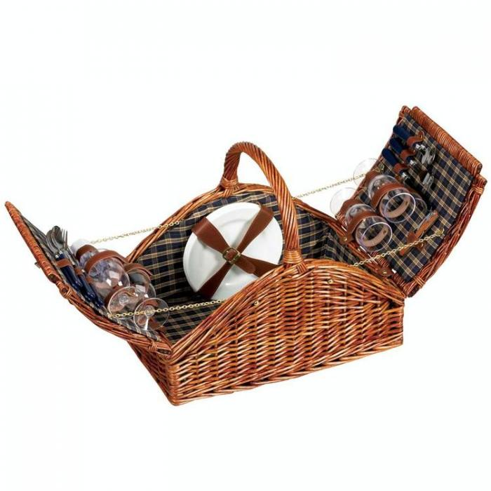 Lined Willow Picnic Basket with Service for 4