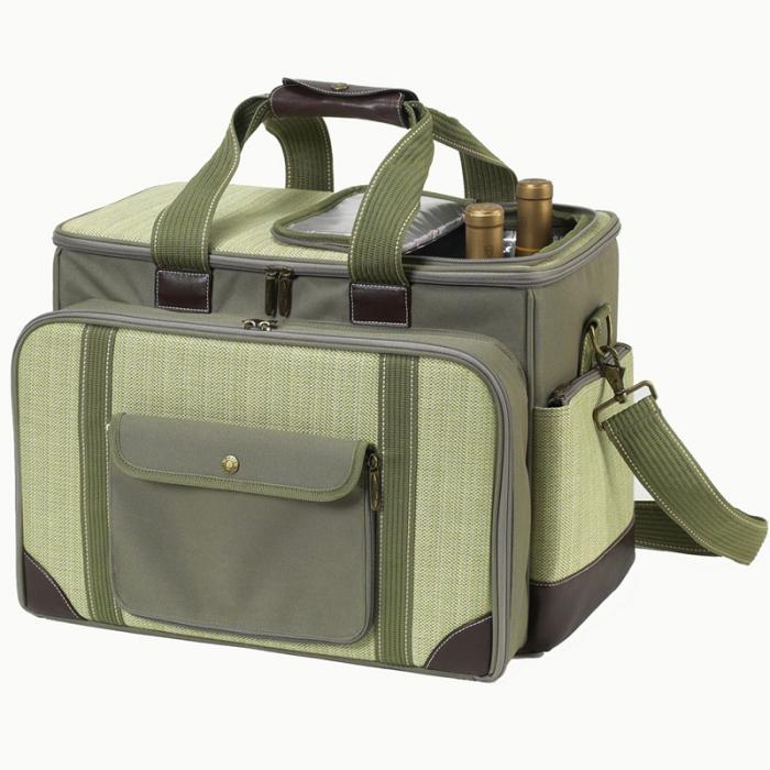 Picnic at Ascot- Ultimate Insulated Picnic Cooler with Service for 4 with blanket - Olive Tweed