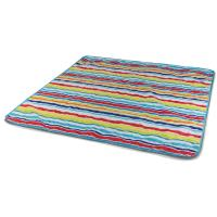 Picnic Time Vista Outdoor Blanket, Aqua Blue with Fun Stripes