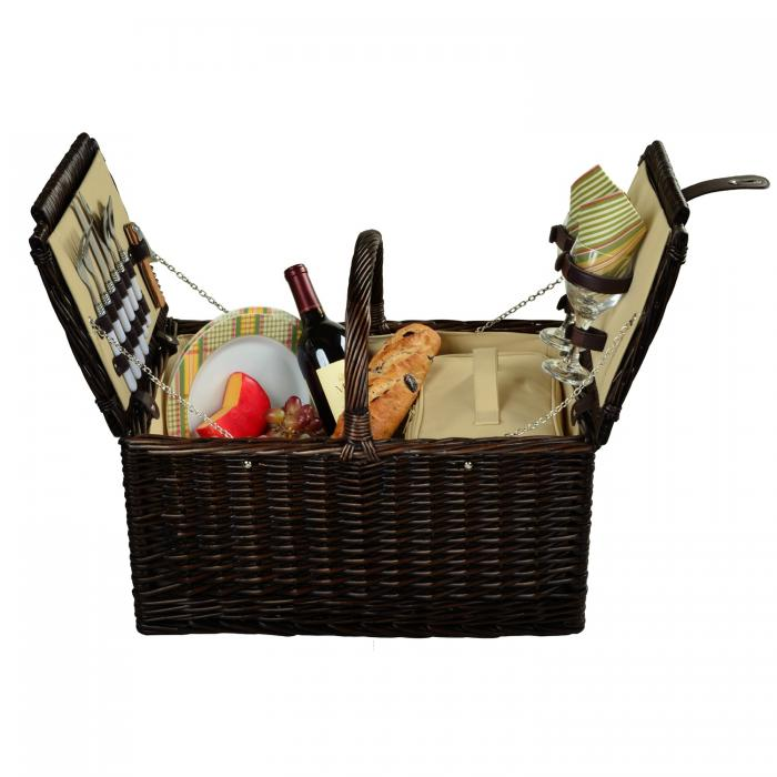 Picnic at Ascot Surrey Willow Picnic Basket with Service for 2 - Hamptons