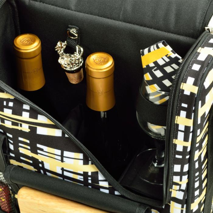 Picnic at Ascot Bordeaux Wine & Cheese Cooler Bag w/Glass Wine Glasses & Blanket -Paris