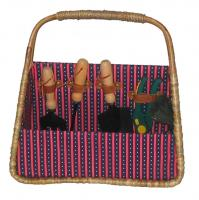 Picnic & Beyond Tuscan Seagrass Basket with Five Garden Tools