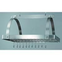 Old Dutch Satin Nickel 30 Inch x 20.5 Inch x 15.75 Inch  Pot Rack with Grid and 24 Hooks