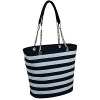 Picnic at Ascot Large Insulated Fashion Cooler Bag - 22 Can Tote - Blue Stripe