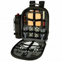 Picnic at Ascot - Deluxe Equipped 2 Person Picnic Backpack with Coffee Service, Cooler & Insulated Wine Holder - Charcoal