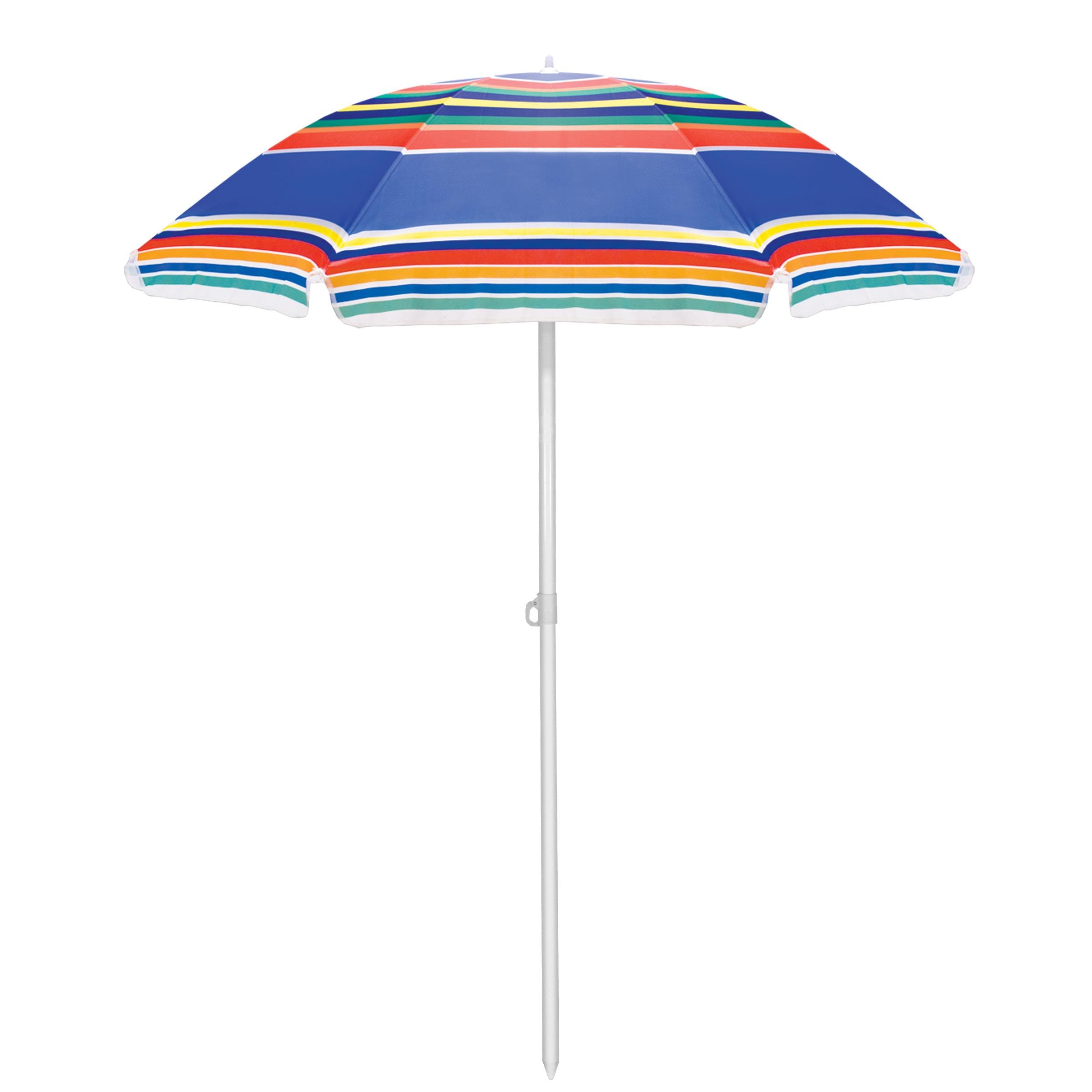 Picnic Time Multi Colored Stripe Picnic Table Umbrella
