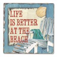Counter Art Beach Time Single Tumbled Tile Coaster