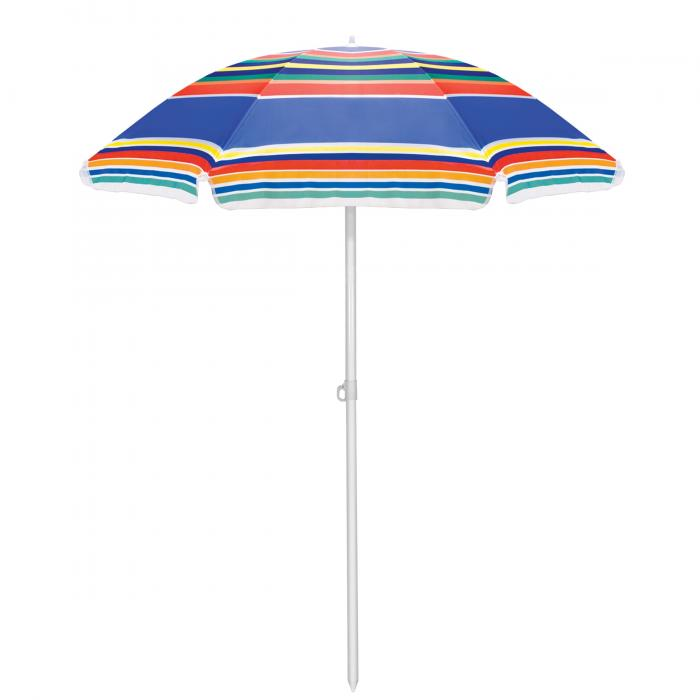 Picnic Time Multi-Colored Stripe Picnic Table Umbrella