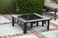 "Fire Sense 36"" Square Tuscan Tile Top Mission Style Fire Pit"