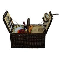 Picnic at Ascot Surrey Picnic Basket for 2 - Brown Wicker/Santa Cruz Stripe