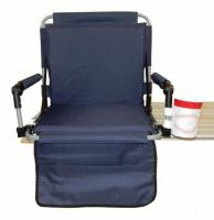Pacific Import Bleacher Bum Stadium Seat w/ Embroidered Baseball Drink Holder, Navy Blue