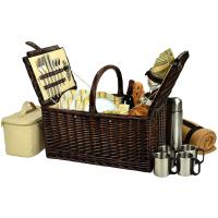 Picnic at Ascot Buckingham Picnic Willow Picnic Basket with Service for 4 with Blanket and Coffee Service - Hamptons