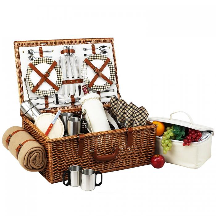 Picnic at Ascot Dorset English-Style Willow Picnic Basket with Service for 4,Coffee Set and Blanket - London Plaid